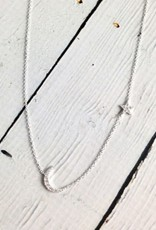 Sterling Silver and CZ pave Moon & Star Necklace