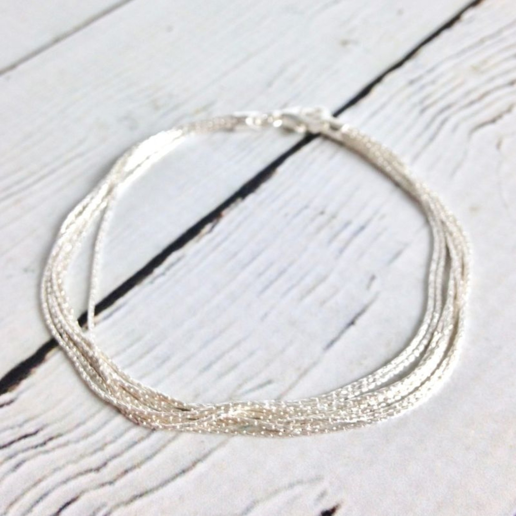 "Sterling Silver 7mm 7.5"" Spark Chain Bracelet"