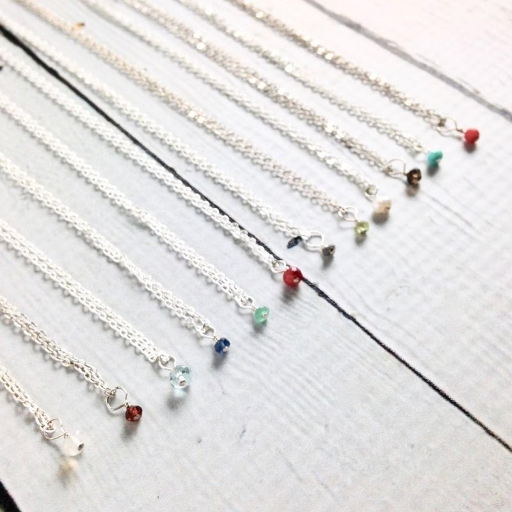Handmade Silver Tiny Birthstone Necklace
