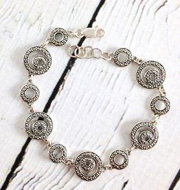 "Sterling Silver and Marcasite 7.5"""" Link Bracelet"