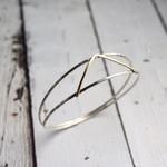 Handmade Sterling split bangle with 14kt gold filled V