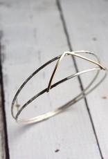 J&I Handmade Sterling split bangle with 14kt gold filled V