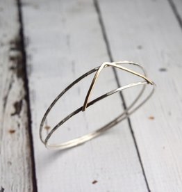 J&I Handmade Sterling split bangle with 14kt gold filled V