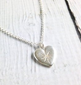 """Sterling Silver Wonder-ful Woman Crystal Heart Necklace, 18 +2"""""""