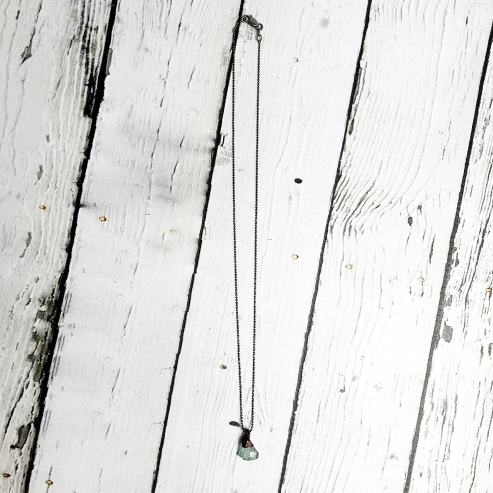 """Tiny Raw Aquamarine on 16"""" Oxidized Faceted Bead Chain Necklace"""