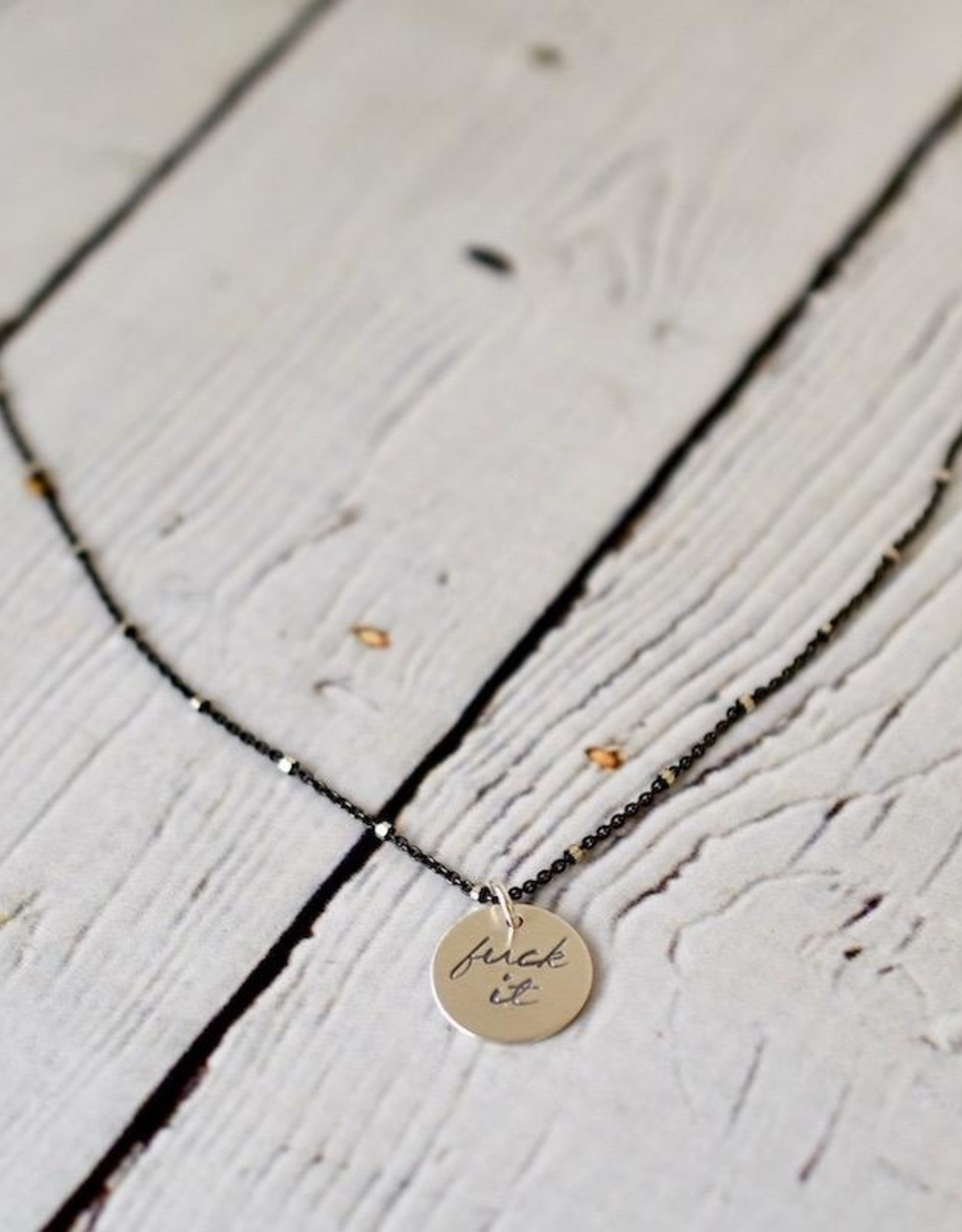"""Handstamped 18"""" Silver """"fuck it"""" Charm Necklace"""