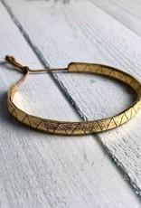 MollyM Handmade Metallic Leather Lariat Bracelet, Gold