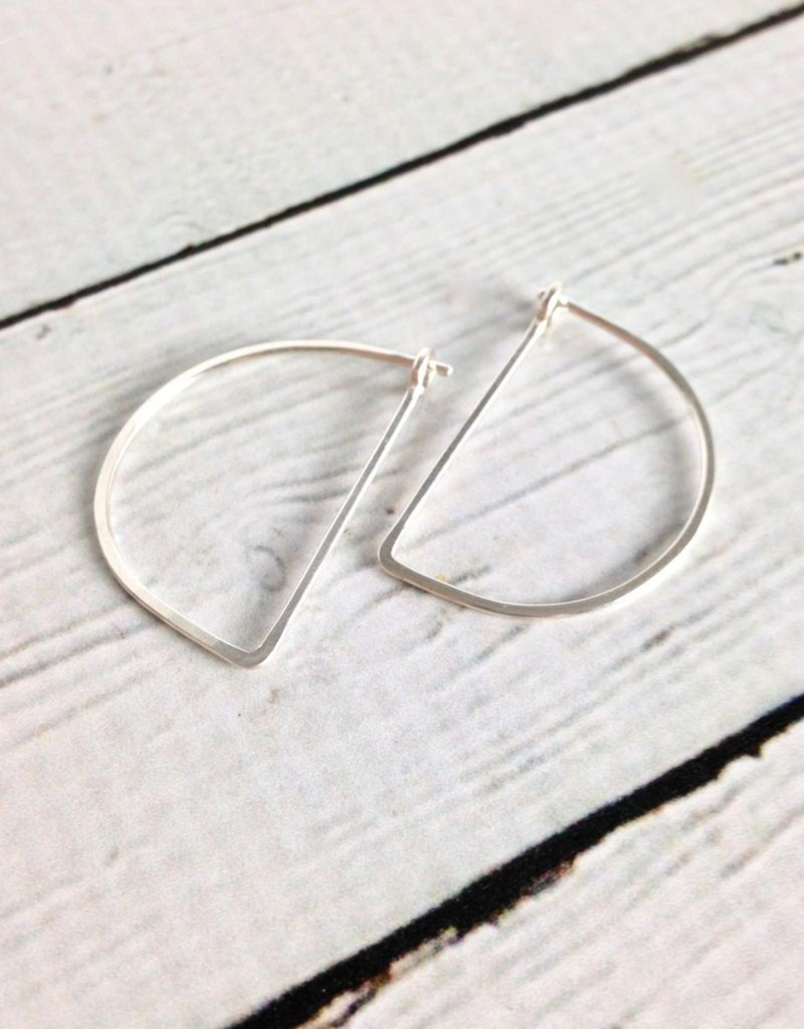 Freshie & Zero Sterling Silver Small Half Moon Minimal Hoop Earrings