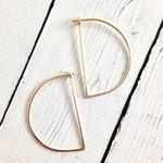 Gold Filled Large Half Moon Minimal Hoop Earrings
