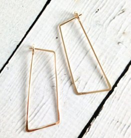 Freshie & Zero Gold Filled Shift (Large Angled Rectangle) Minimal Hoop Earrings