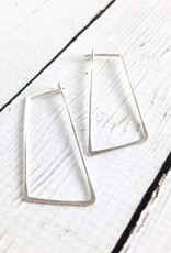 Sterling Silver Shift (Large Angled Rectangle) Minimal Hoop Earrings