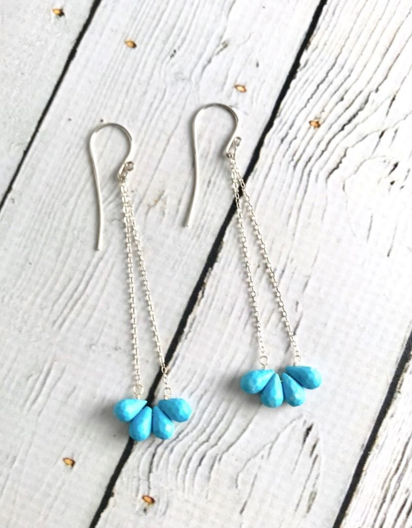 RANASALAME Sterling Silver Earrings with Semi Hoop of Faceted Sleeping Beauty Turquoise