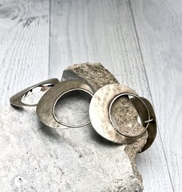 Julia Britell Handmade Sterling Silver Oxidized and textured open circle with solid halfmoon links bracelet by Julia Britell Designs