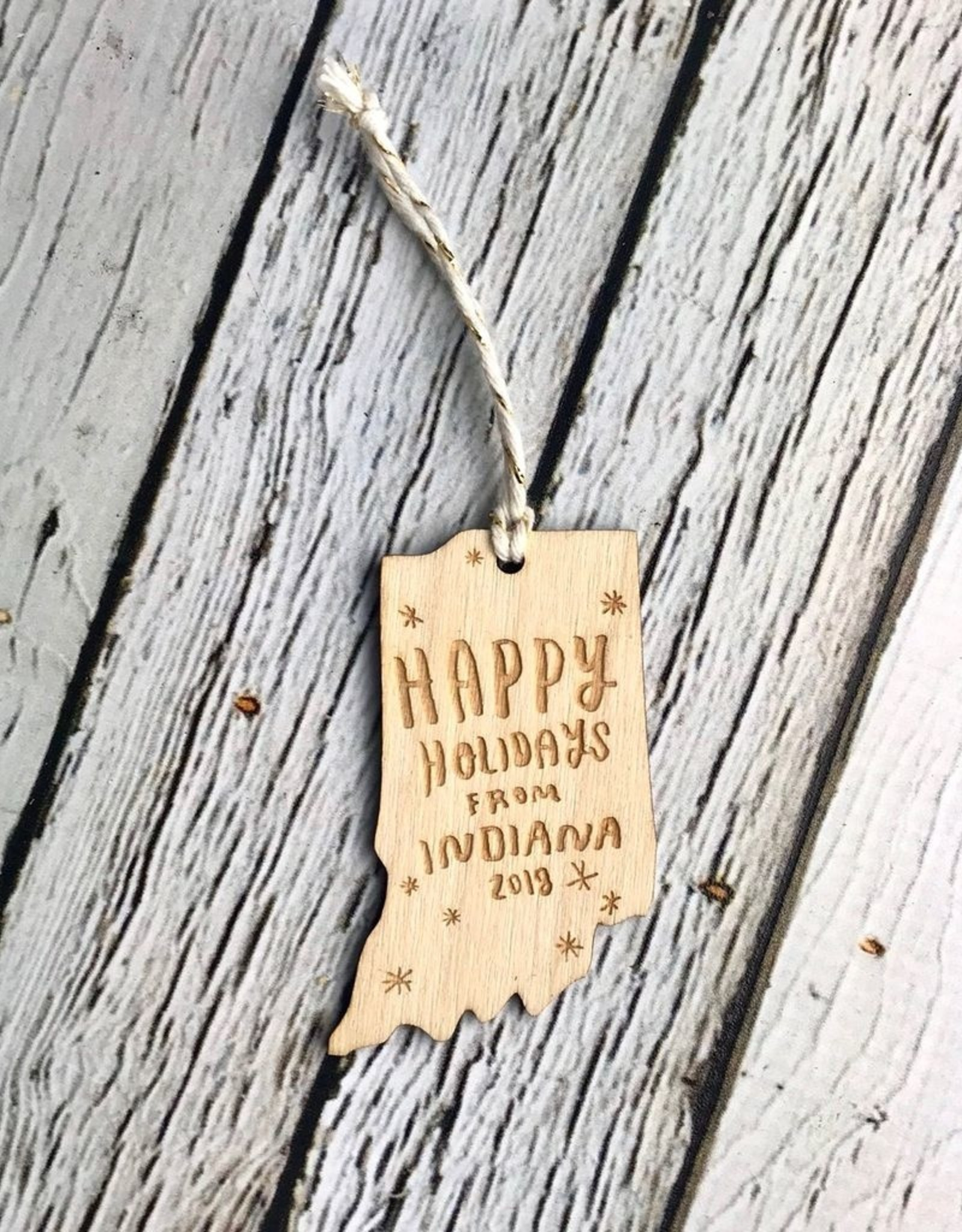 Natural Happy Holidays From Indiana Ornament