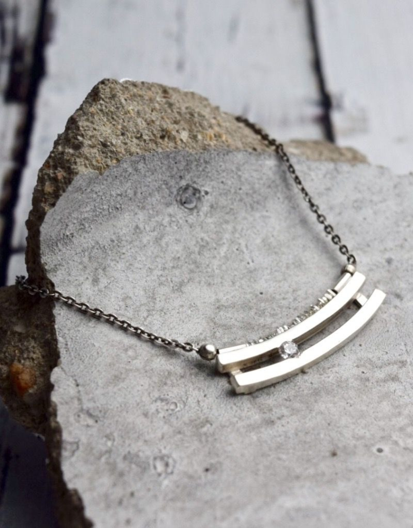 Handmade Necklace with Sterling Silver Bar Pendant with flsuh set white CZ on Chain