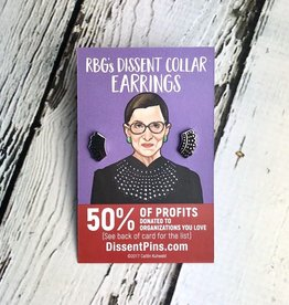 Disset Pins Ruth Bader Ginsburg Dissent Collar Enamel Earrings (not sterling)