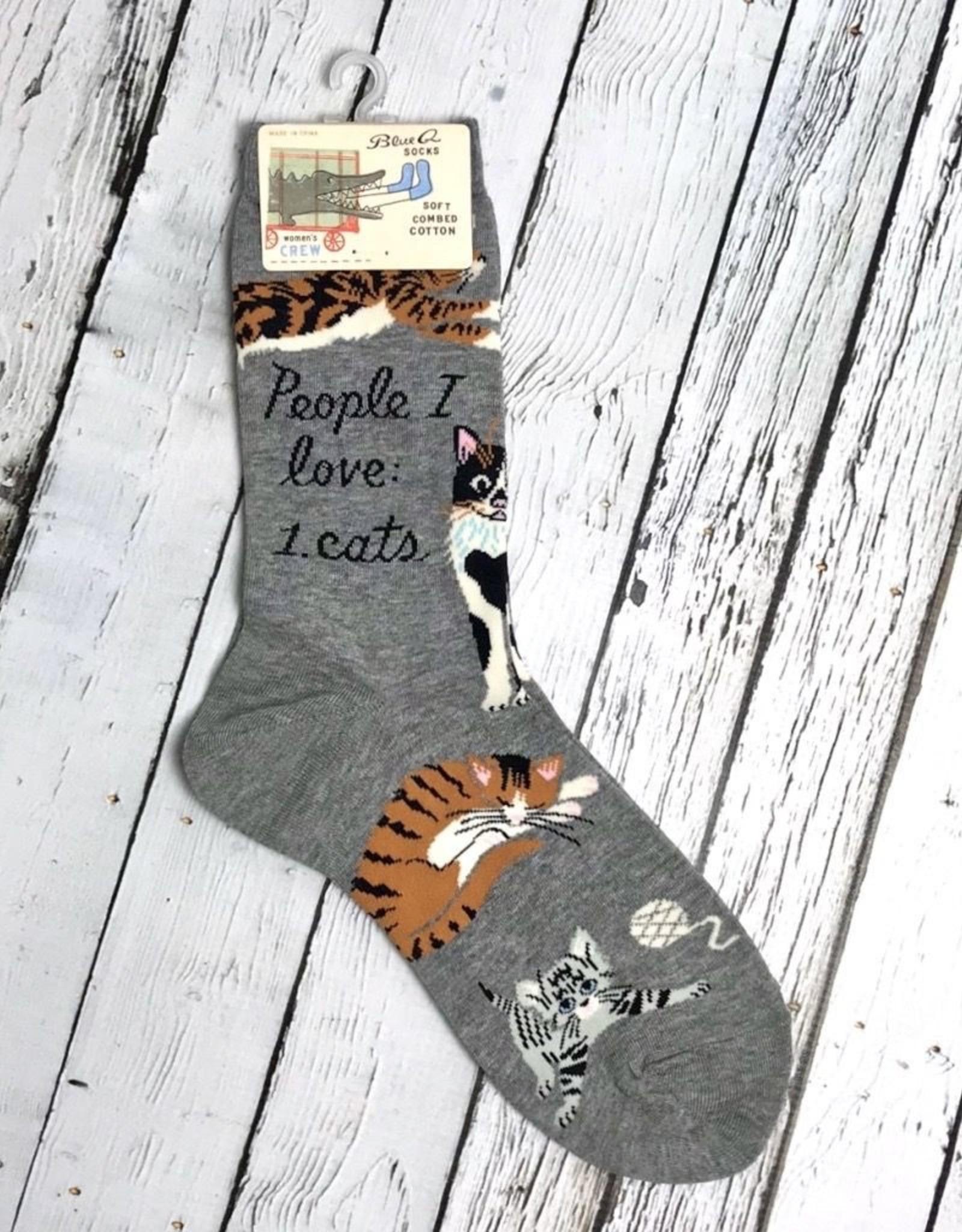 BlueQ People I Love: CATS Women's Crew Socks