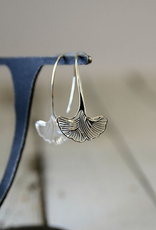 Sterling Silver Ornate Gingko Leaf Earrings