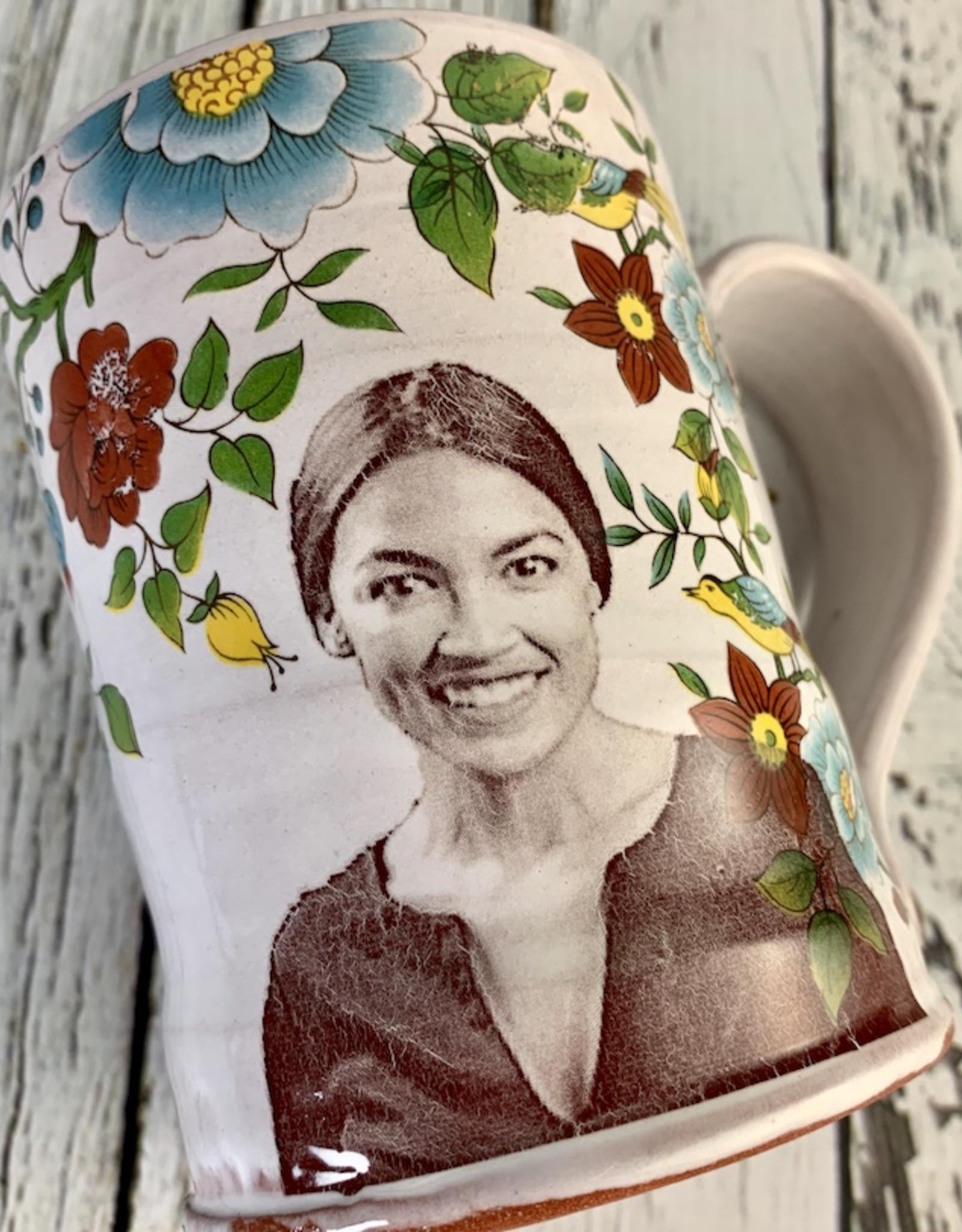 Handmade Floral Icons Mug - Alexandria Ocasio-Cortez