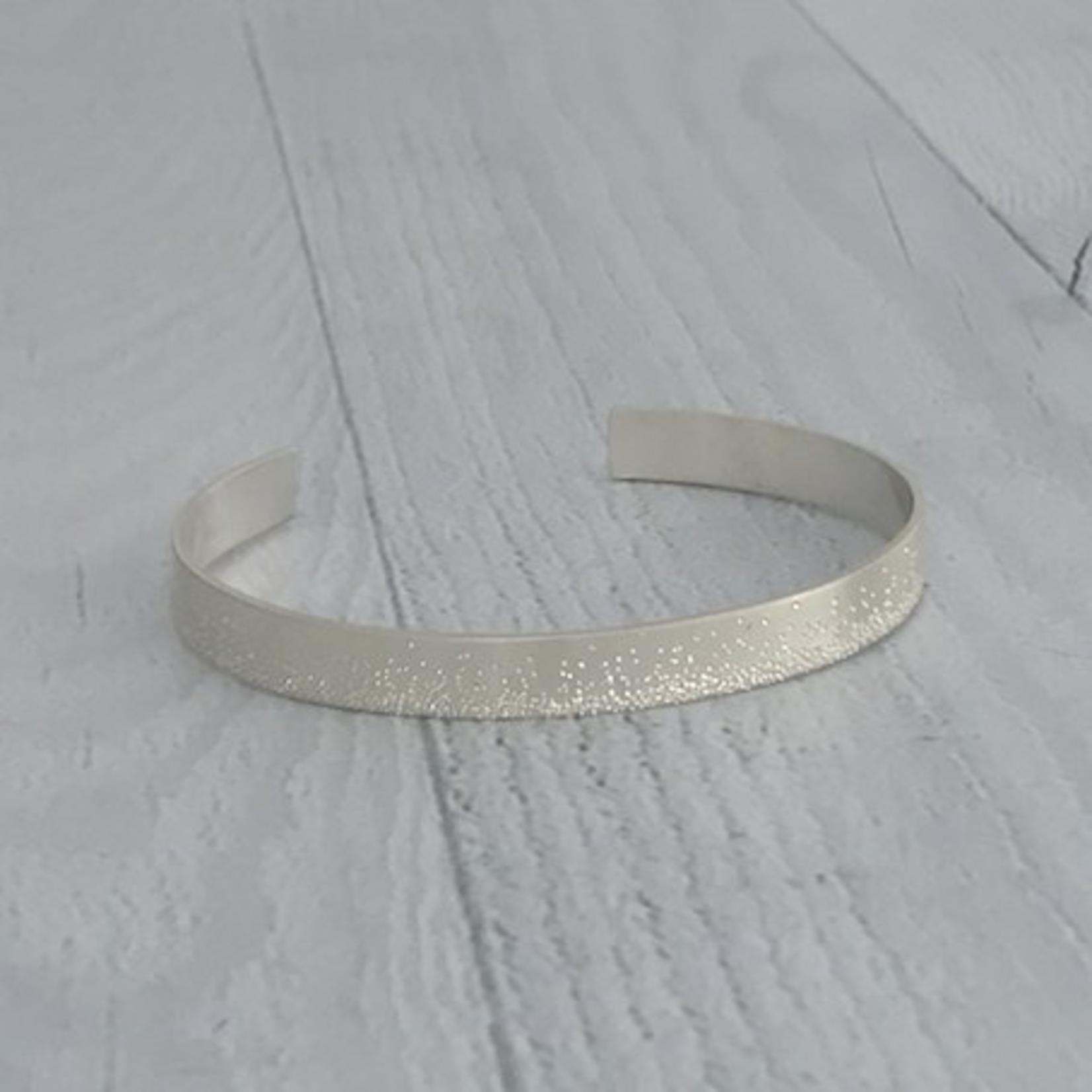 Handmade Diamond Dusted   medium sterling silver grand cuff