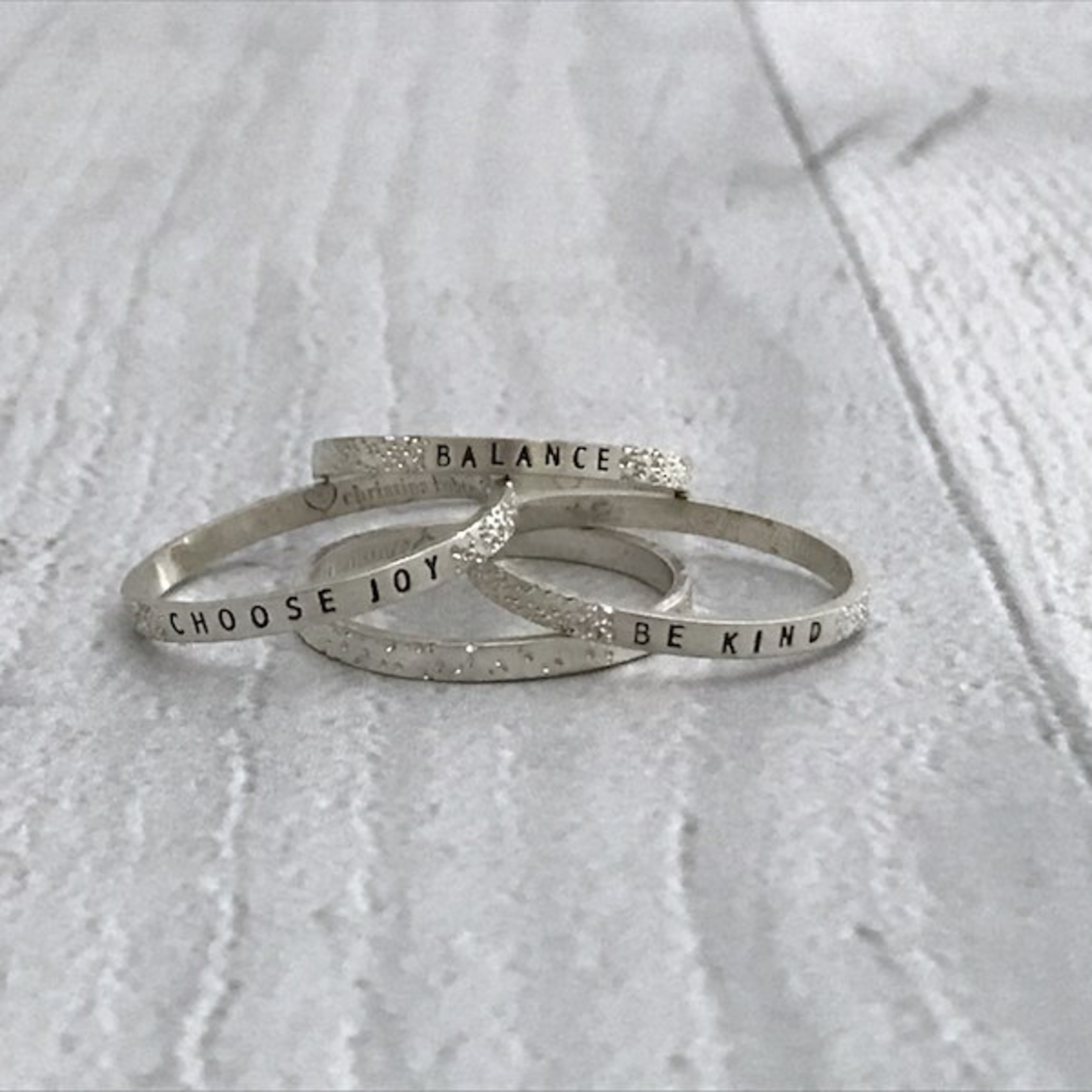 Handmade Narrow Diamond Dusted Sterling Silver Ring