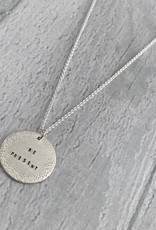 "Handmade BE PRESENT | 16 & 18"" sterling silver diamond dusted small coin necklace"