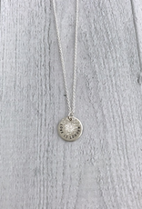 "Handmade LOVE IS LOUDER | 16 & 18"" sterling silver diamond dusted mini coin necklace"
