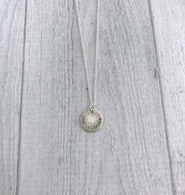 """Handmade LOVE IS LOUDER   16 & 18"""" sterling silver diamond dusted mini coin necklace"""
