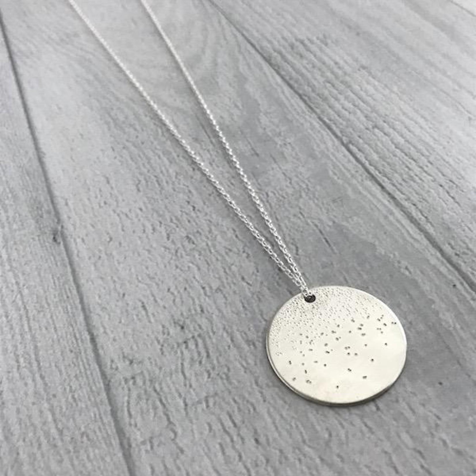 "Handmade Diamond Dusted | 30 & 32"" sterling silver large medallion"