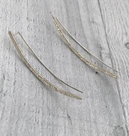 Handmade Diamond Dusted   sterling silver long ear climber pair
