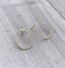 Handmade Diamond Dusted | sterling silver small oval studs