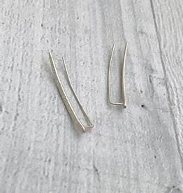 Handmade Diamond Dusted   sterling silver medium ear climber pair
