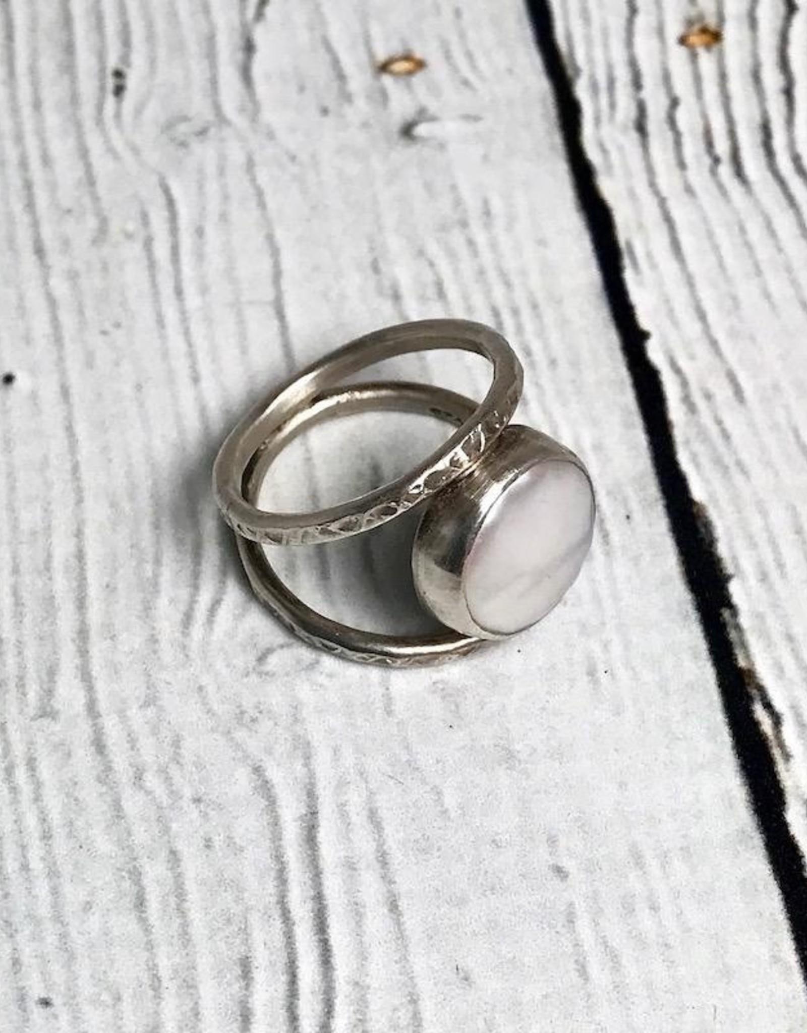 J&I Handmade Oxidized Sterling Bezel set 8mm White Freshwater Coin Pearl