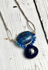 "Handmade sodalite, kyanite, sapphire, gold filled and sterling silver 16""-18"" necklace."