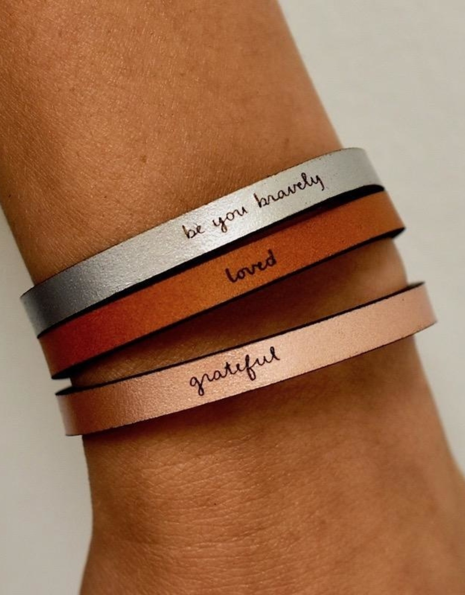 Leather Word Bracelet with