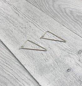 Sterling Silver Long Open Triangle Hoop Earrings