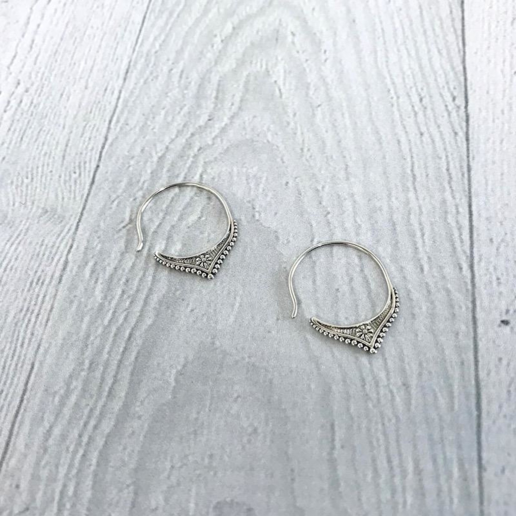 Sterling Silver Hoop Earrings with Filigree Points