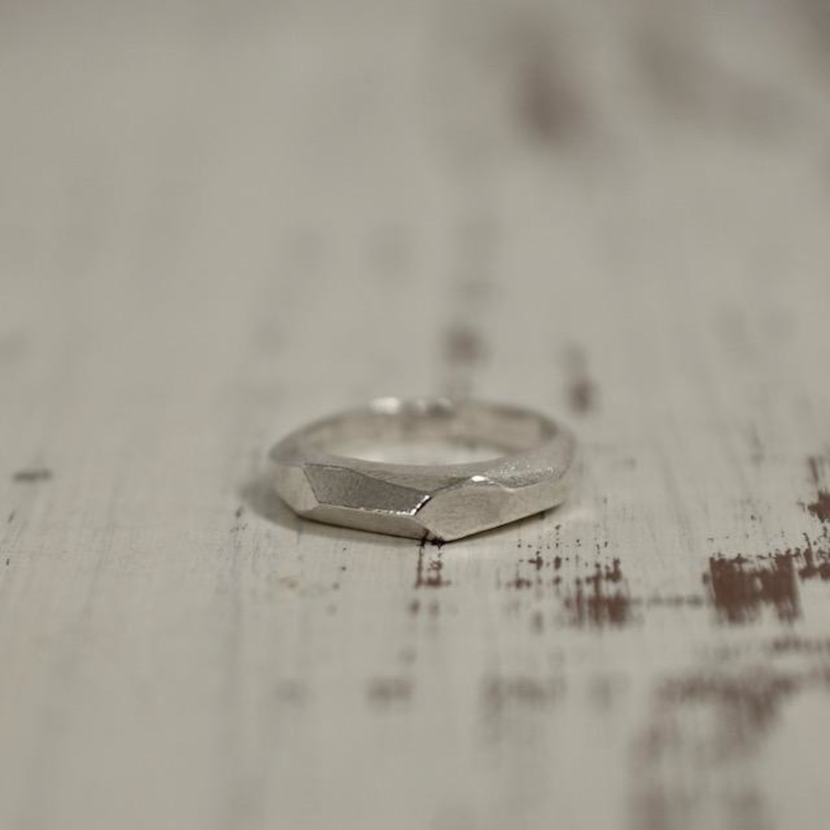 Handmade Sterling Silver Faceted Narrow Band Ring