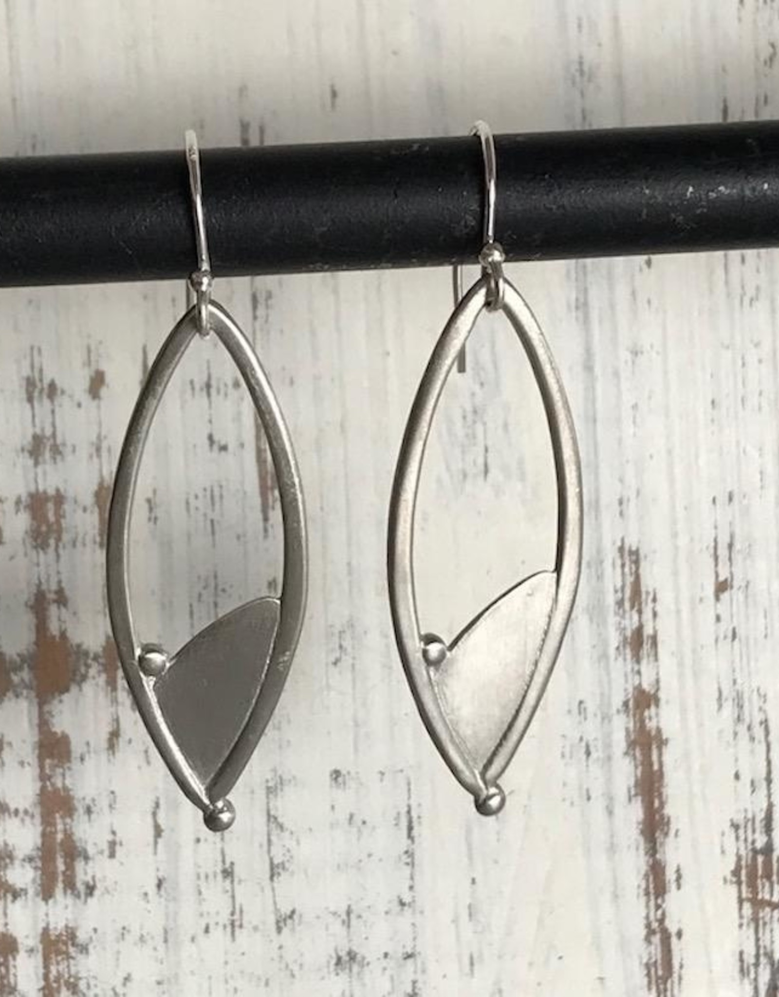 Handmade Silver Long Pointed Oval design Earrings
