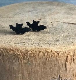 Handmade Bat Lasercut Wood Earrings on Sterling Silver Posts
