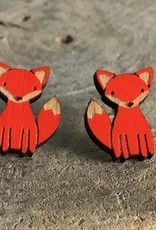 Handmade fox Lasercut Wood Earrings on Sterling Silver Posts