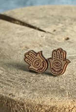Handmade Hamsa Natural Lasercut Wood Earrings on Sterling Silver Posts