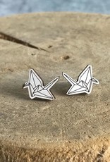 Handmade paper crane - natural Lasercut Wood Earrings on Sterling Silver Posts