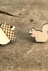 Handmade squirrel/nut Lasercut Wood Earrings on Sterling Silver Posts