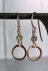 J&I Handmade 14Kt Goldfill Open Circle with 4mm Tiny Faceted Labradorite Earrings