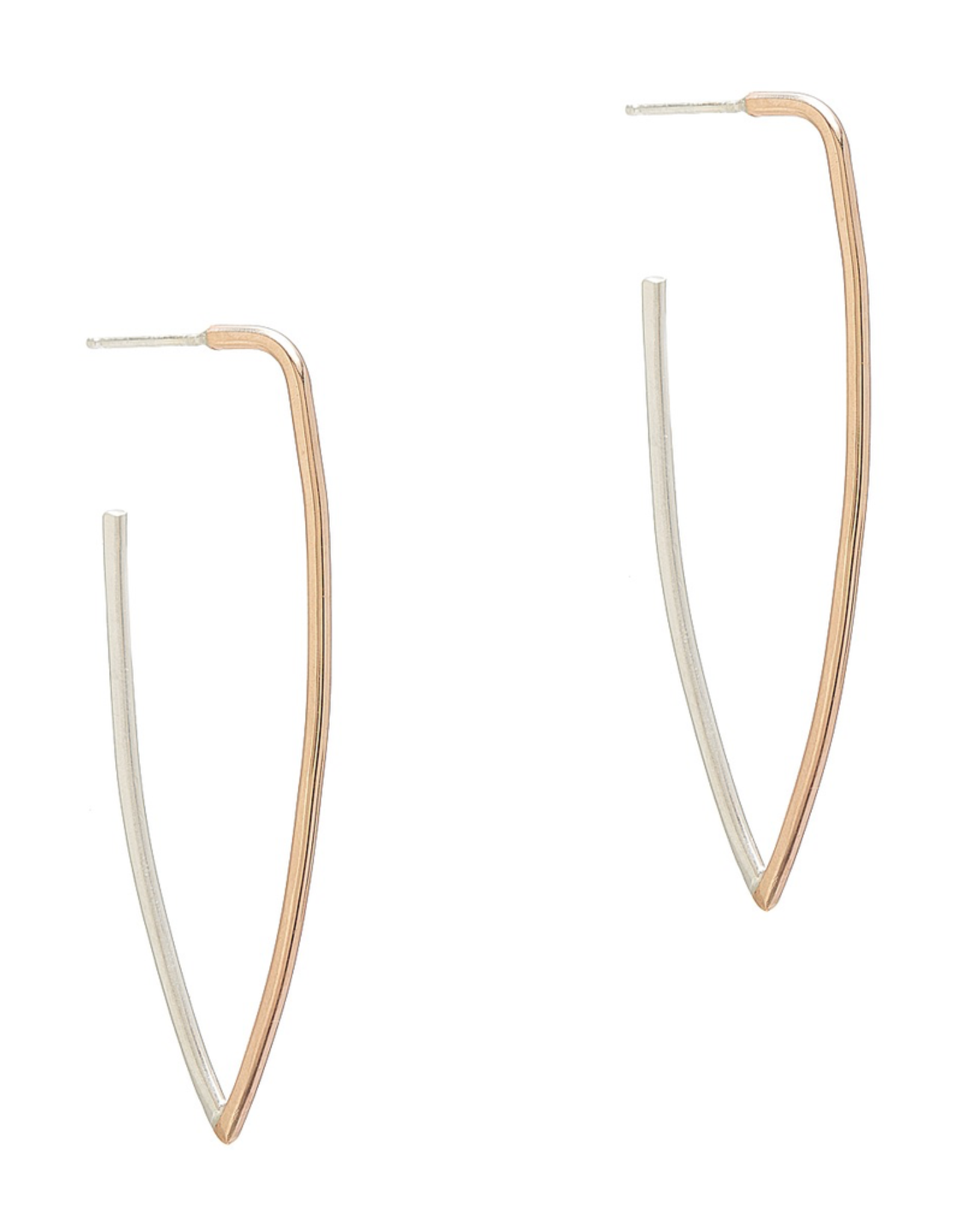 Handmade 14kt Goldfill and Sterling Silver Long V-shape earrings