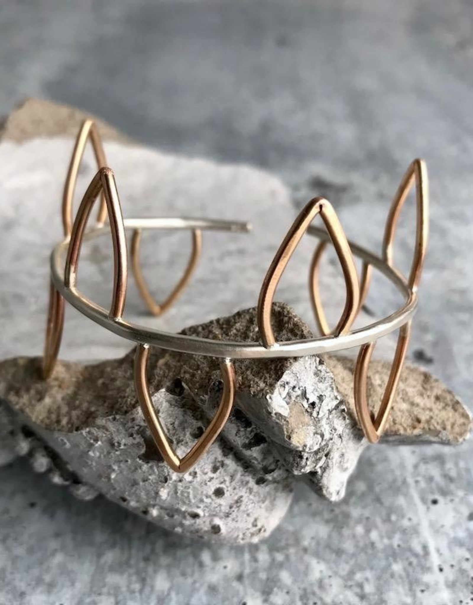 J&I Handmade 14kt Goldfill Leaves and Sterling Silver Cuff