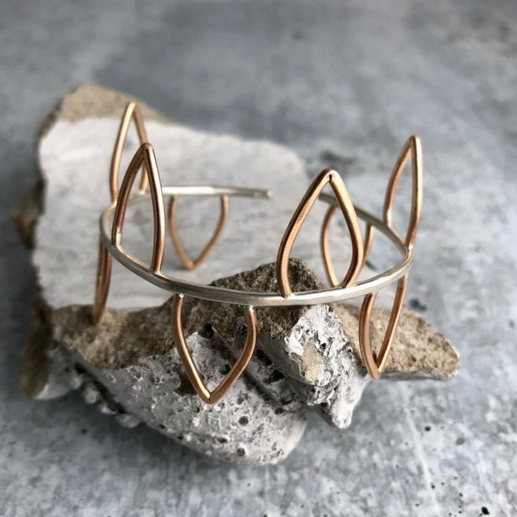 Handmade 14kt Goldfill Leaves and Sterling Silver Cuff