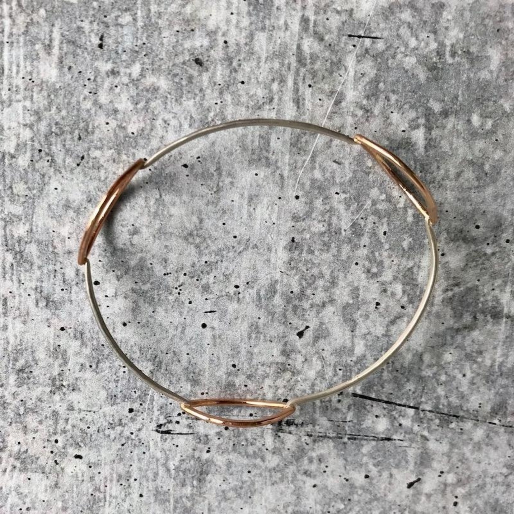 Handmade 14kt Goldfill Leaf shape in the round sterling silver bangle