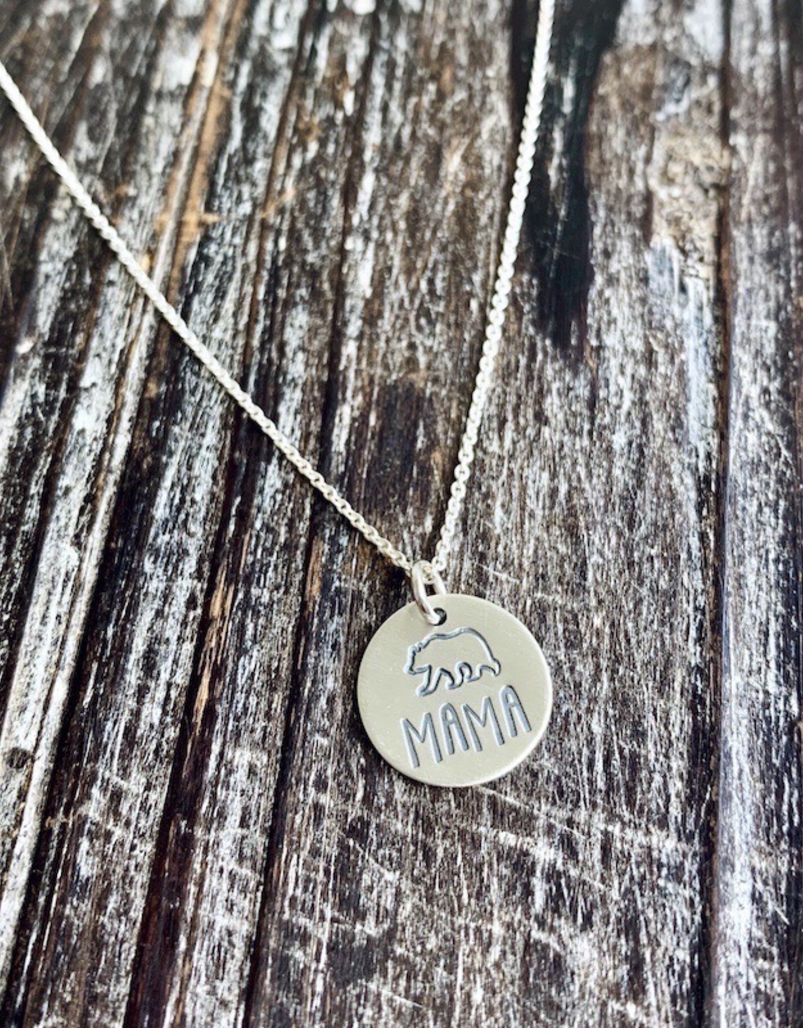 Handstamped Mama Bear Charm Necklace